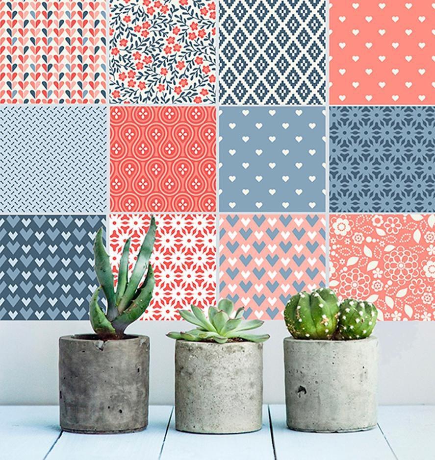 Home affaire Fliesenaufkleber »floral/graphisch«, 12x 15/15 cm in rosa/blau