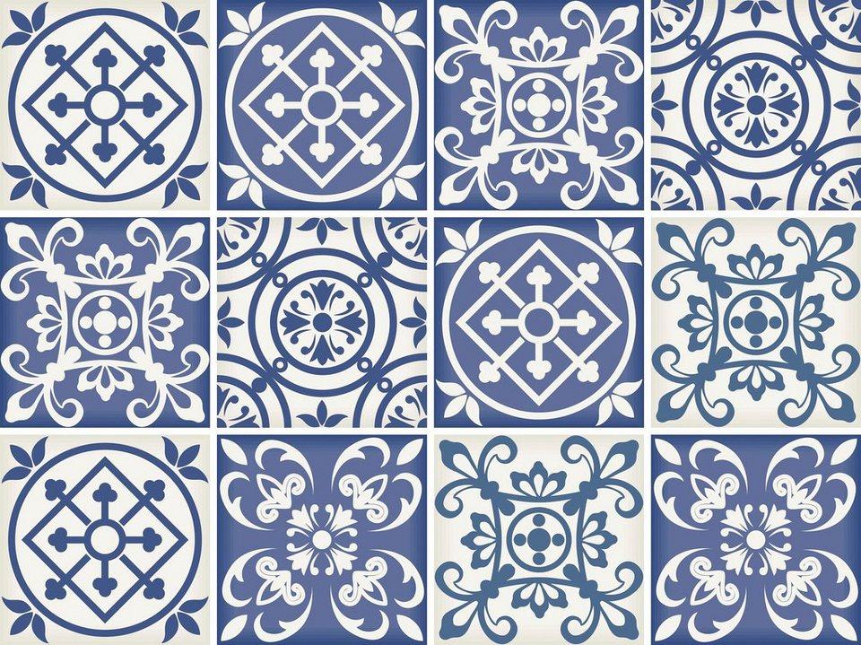 Home affaire Fliesenaufkleber »Ornamente«, 12x 15/15 cm in blau/creme