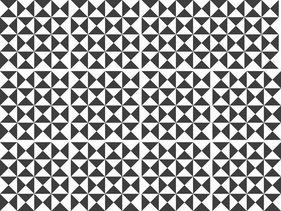 Home affaire Fliesenaufkleber »graphisch«, 12x 15/15 cm in schwarz/weiß