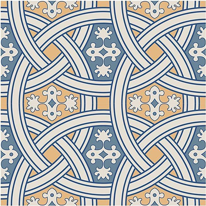 Home affaire Fliesenaufkleber »Ornamente«, 12x 15/15 cm in creme/blau/gelb