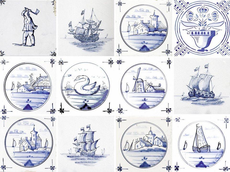 Home affaire Fliesenaufkleber »maritim«, 12x 15/15 cm in blau/weiß