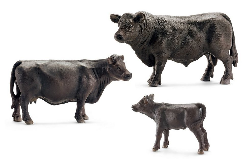 Schleich® Spielfigurenset 3-tlg., »Farm World - Black Angus«