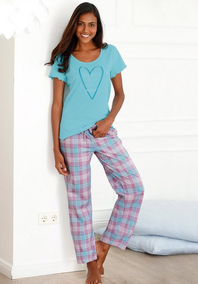 Petite Fleur Pyjama mit karierter Hose & T-Shirt mit Herzprint in eisblau-kariert