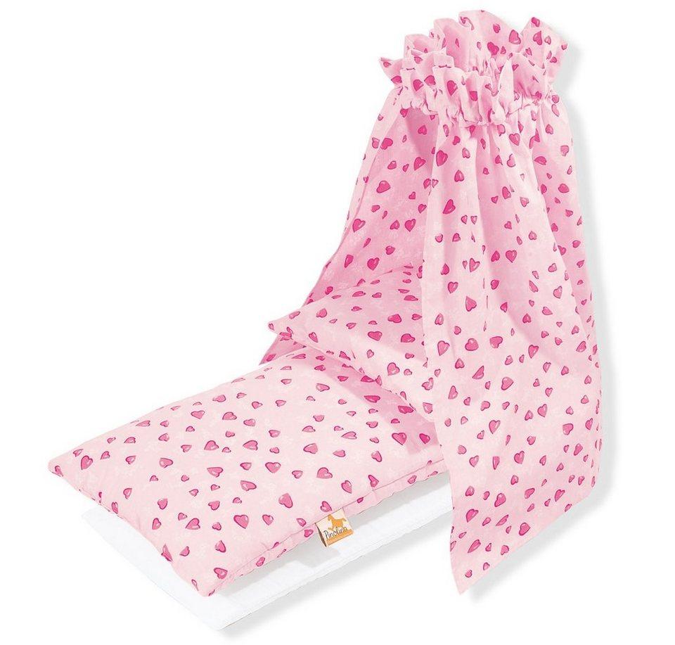 Pinolino Bettzeug mit Himmel für Puppenwiege, »Herzchen« (4tlg.) in rosa