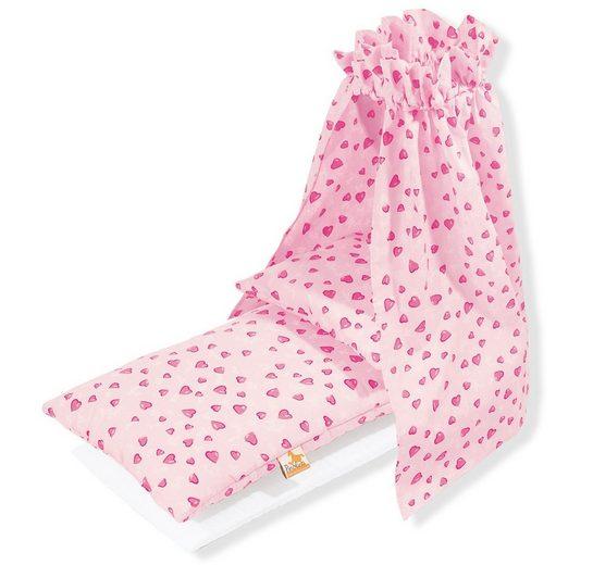 Pinolino® Puppen Bettwäsche »Bettzeug mit Himmel für Puppenwiege, Herzchen«, (Set, 4-tlg)