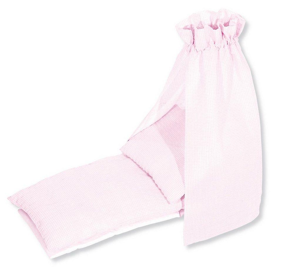 Pinolino Bettzeug mit Himmel für Puppenwiege , »Vichy-Karo« (4tlg.) in rosa