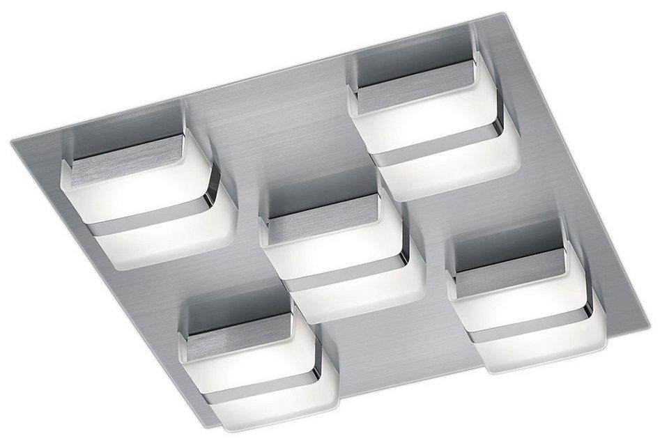 Trio LED-Deckenleuchte, 5 flg., »CANTURO« in Metall, nickel matt, Kunststoff weiß