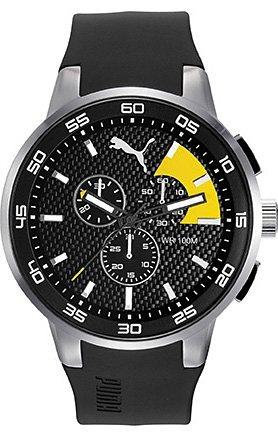 PUMA Chronograph »PUMA 10416 - Chrono Silver Black Yellow, PU104161003« in schwarz