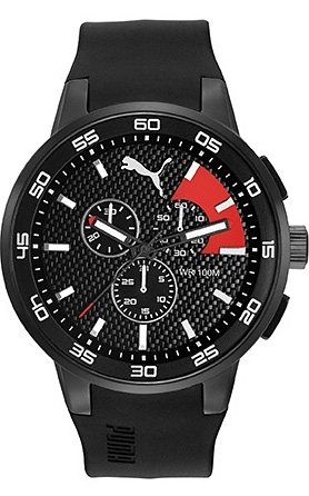 PUMA Chronograph »PUMA 10416 - Chrono Black Red, PU104161001« in schwarz