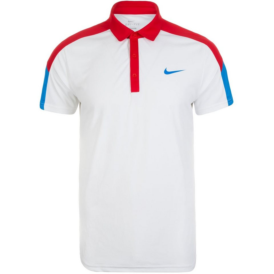 NIKE Team Court Tennispolo Herren in weiß / rot / blau