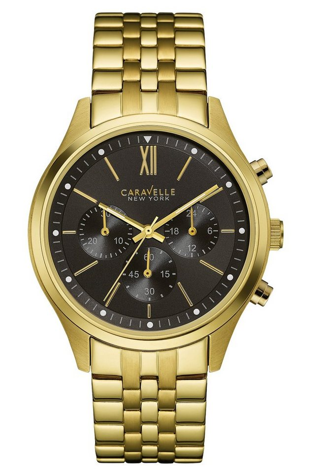 Caravelle New York Chronograph »Dress, 44A108« in goldfarben