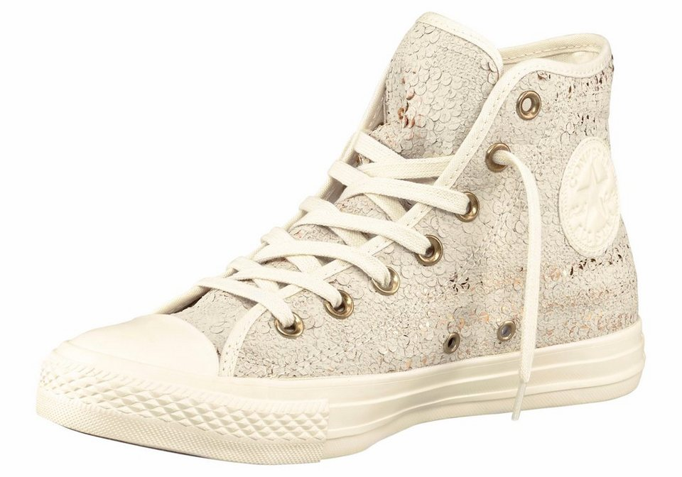 Converse CTAS Sequins Sneaker in Weiß-Goldfarben