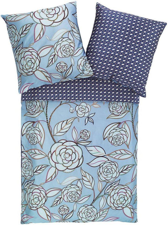 Wendebettwäsche, Zucchi, »Camelia«, mit abstrakten Rosenblüten in blau