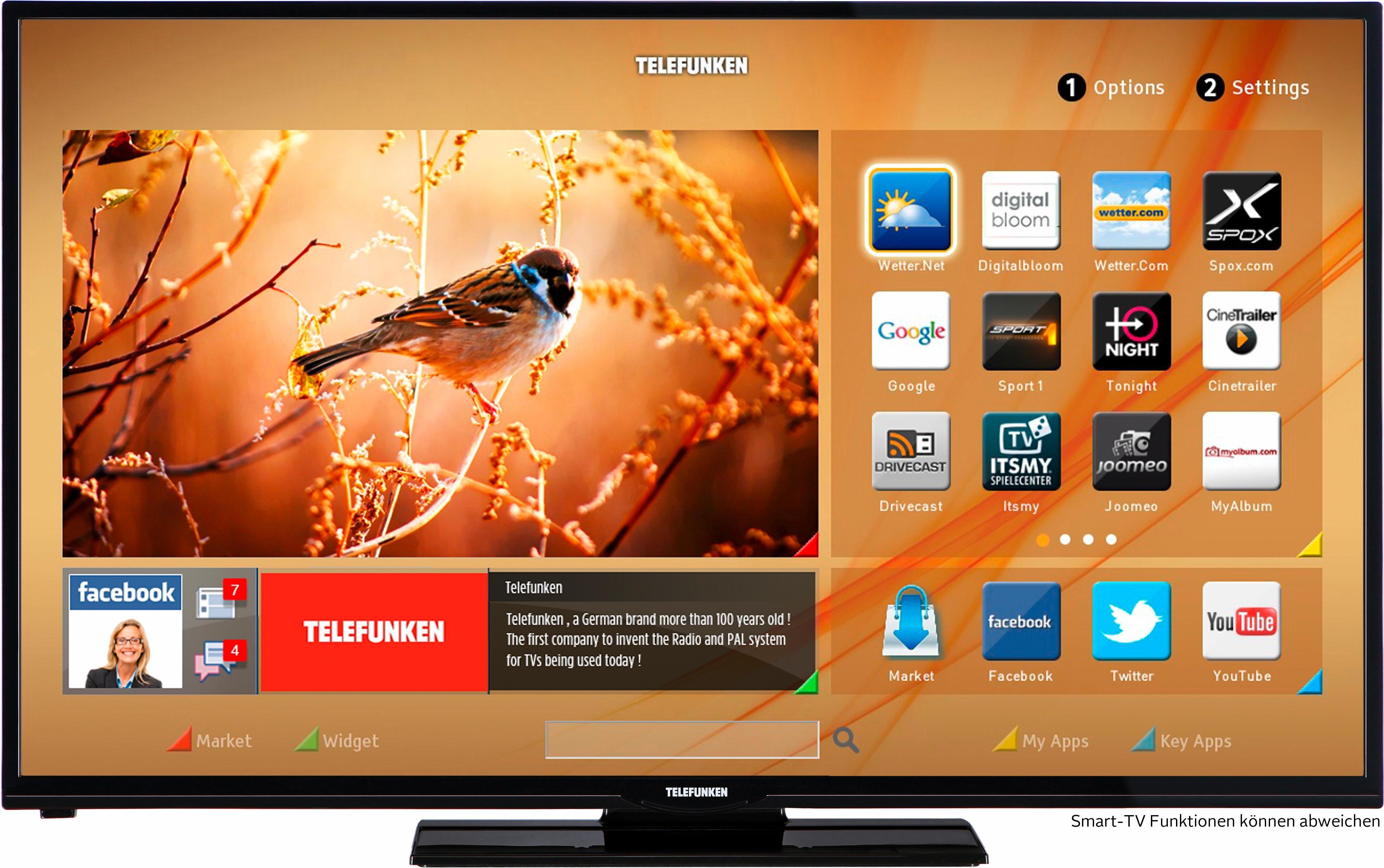 Telefunken D50F275N3CW, LED Fernseher, 127 cm (50 Zoll), 1080p (Full HD), Smart-TV