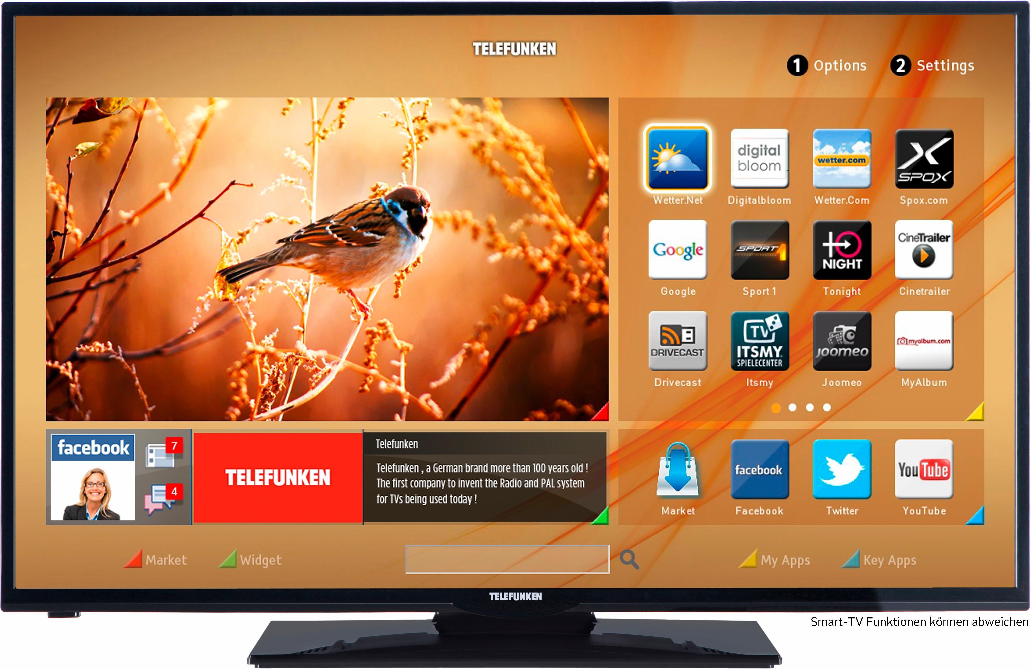 Telefunken D39F275M3CW, LED Fernseher, 99 cm (39 Zoll), 1080p (Full HD), Smart-TV