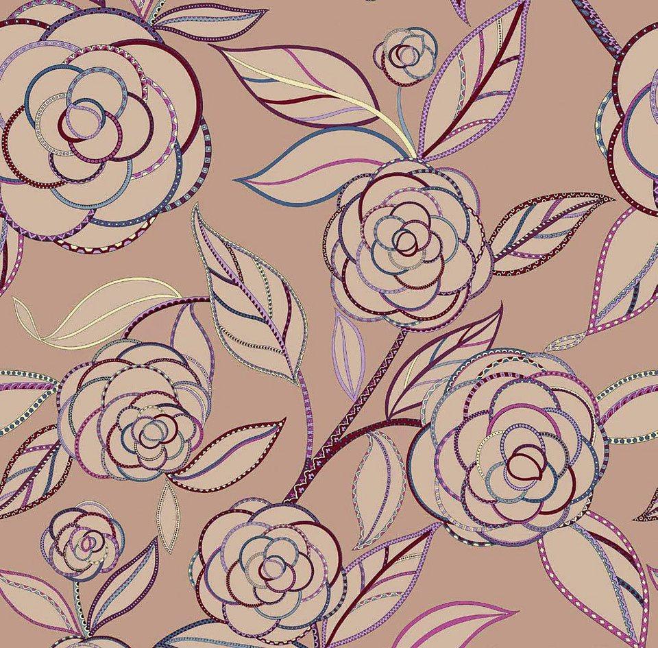 Tagesdecke, Zucchi, »Camelia«, mit großen Blüten in puder rosa