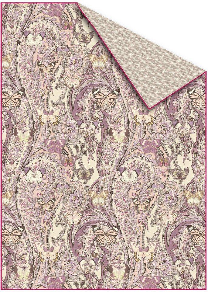 Plaid, Zucchi, »Papillons«, mit Schmetterlingen in rosa