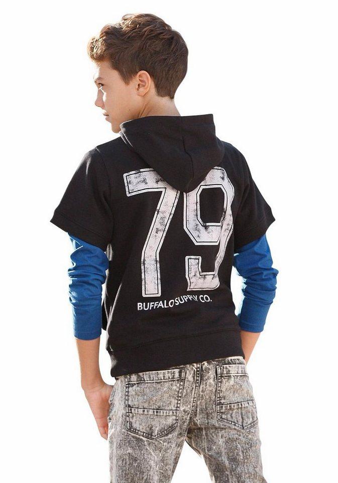 Buffalo Kapuzensweatshirt (Kurzarm) in schwarz