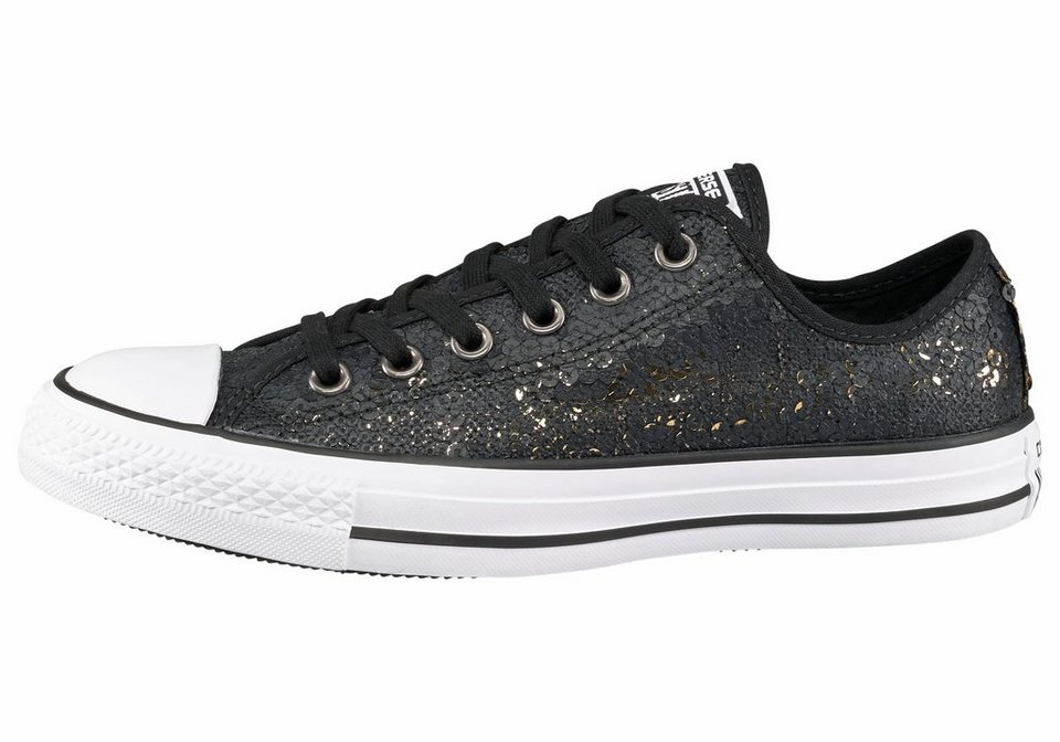 Converse CT All Star Sequins Sneaker in Schwarz-Goldfarben