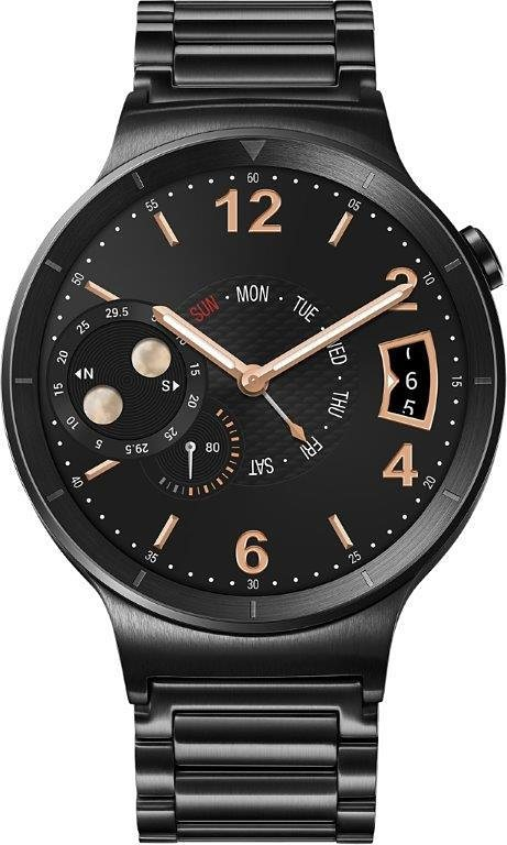 Huawei Watch Active Smartwatch, Android Wear™, 3,56 cm (1,4 Zoll) AMOLED-Touchscreen Display in Edelstahl + Gliederband