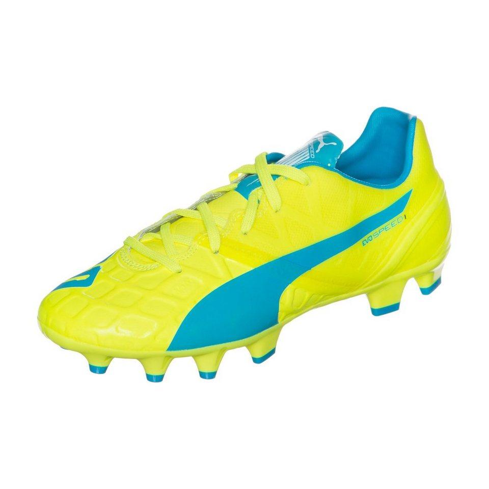 PUMA evoSPEED 1.4 FG Fußballschuh Kinder in neongelb / blau