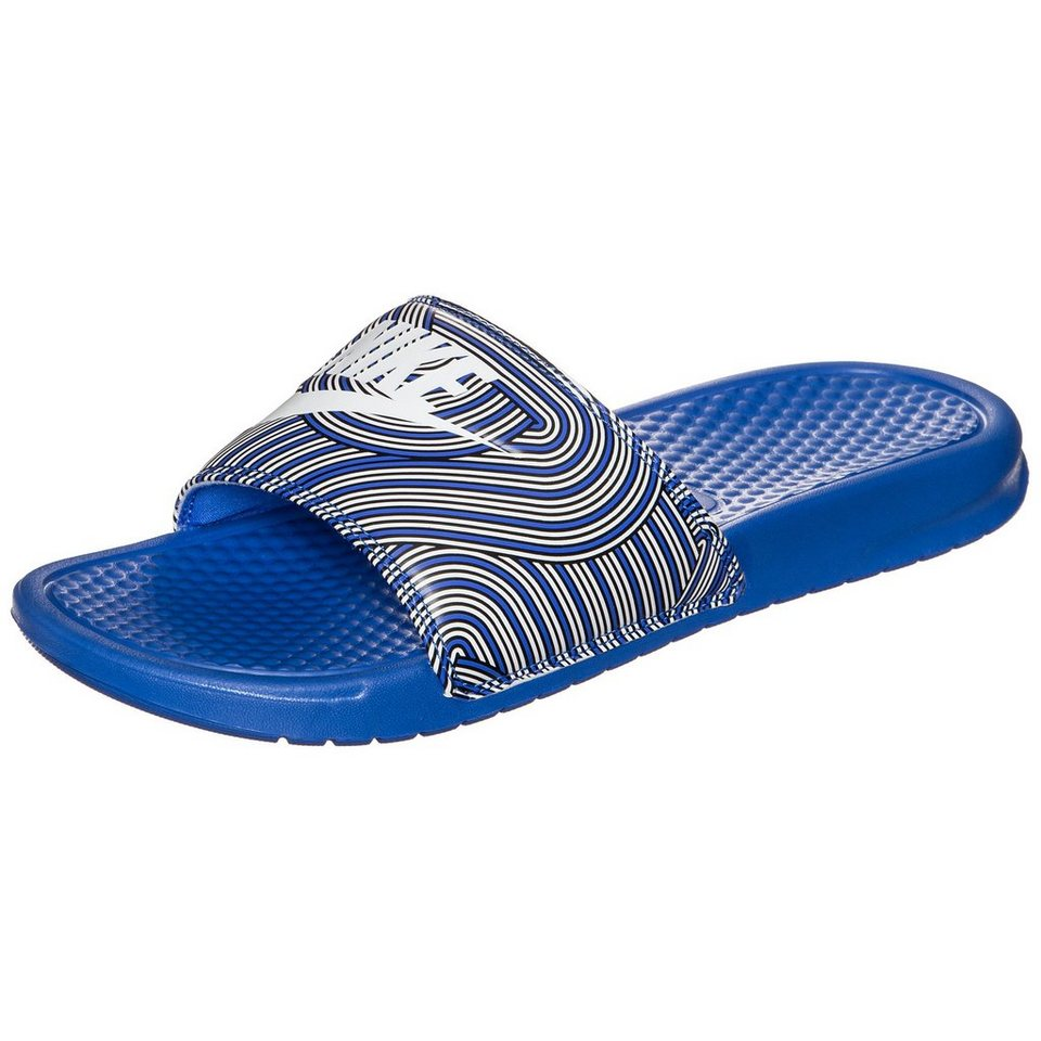 Nike Sportswear Benassi Just Do It Print Badesandale Herren in blau / weiß