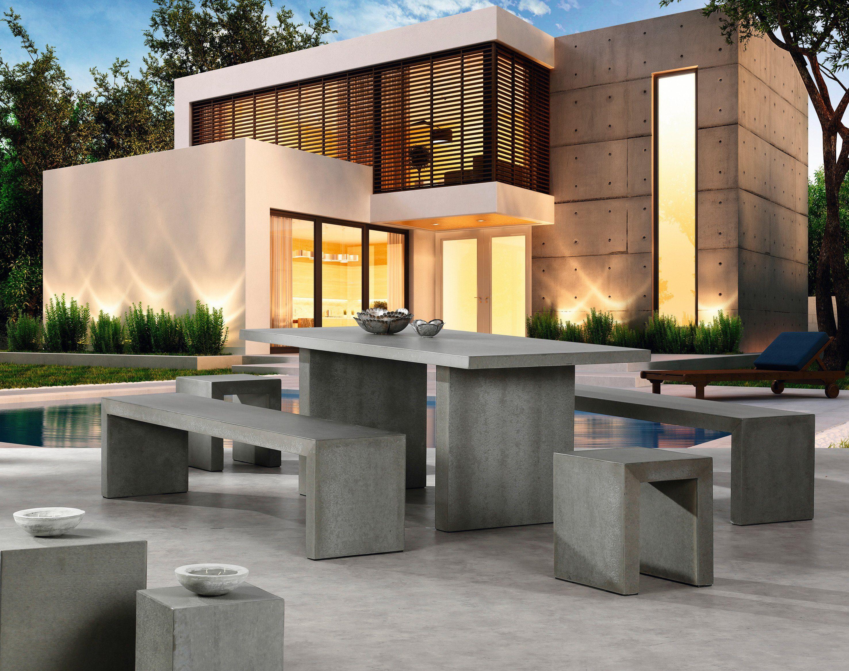Best 5-tlg. Gartenmöbelset »Rockall«, 2 Bänke 200x45x46 cm, 2 Hocker, Tisch, Beton-Glasfaser, grau