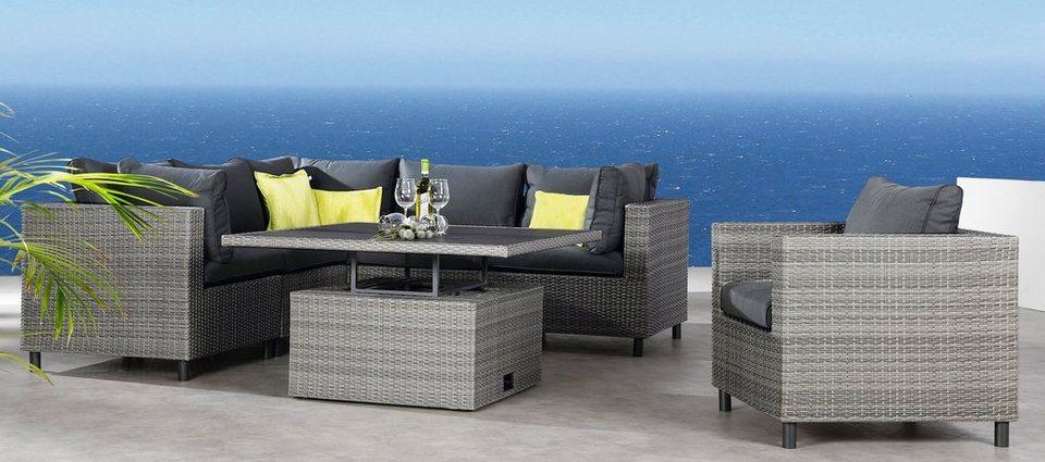 Loungeset »Bonaire«, 3 Eck-, 2 Mittelteile, höhenverstellbarer Tisch, Polyrattan, grau in anthrazit
