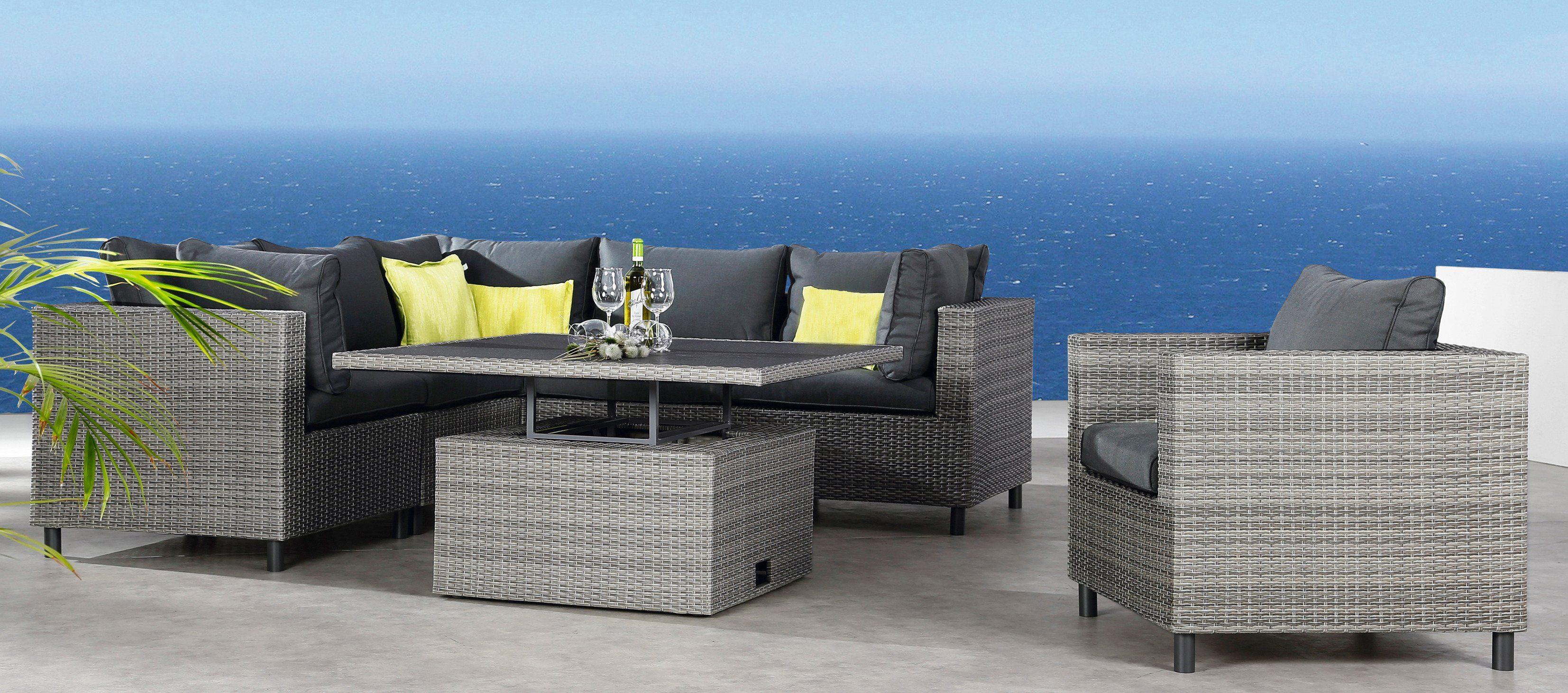 Loungeset »Bonaire«, 3 Eck-, 2 Mittelteile, höhenverstellbarer Tisch, Polyrattan, grau