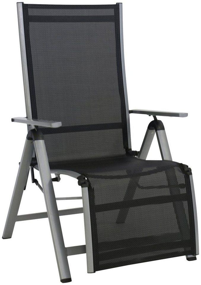 Relaxsessel »Monza Comfort XL«, Alu/Textil, verstellbar, mit Fußteil in silber, schwarz