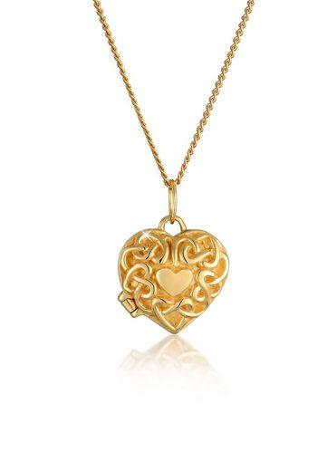 Elli Collierkettchen »Herz Ornament Amulett Medaillon 585 Gelbgold«