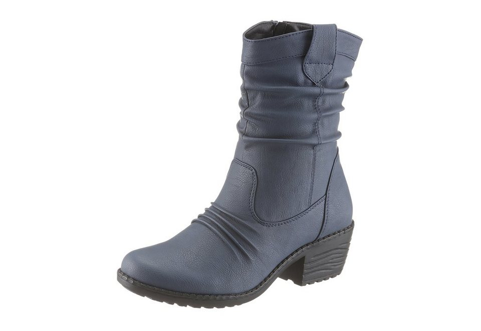 CITY WALK Stiefel mit modischen Raffungen in navy