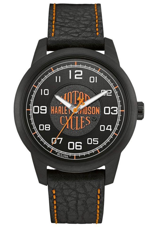 Harley Davidson Quarzuhr »Decals, 78A116« in schwarz