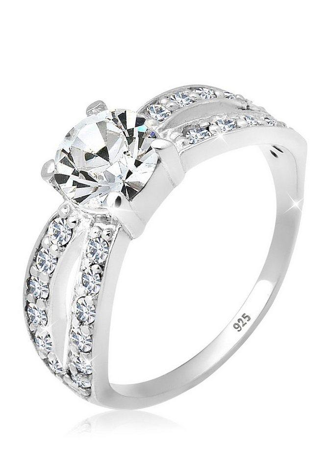 Elli Ring »Solitär Swarovski® Kristall 925 Silber« in Weiß