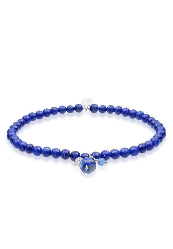 Elli Armband »Om Labradorit Achat Lapislazuli Sterling Silber« in Blau