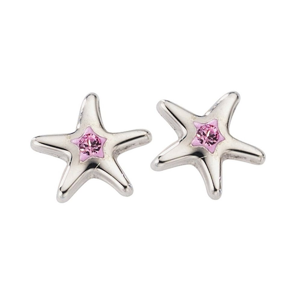 Crystelle Ohrstecker »925/- Sterling Silber Swarovski pink« in pink