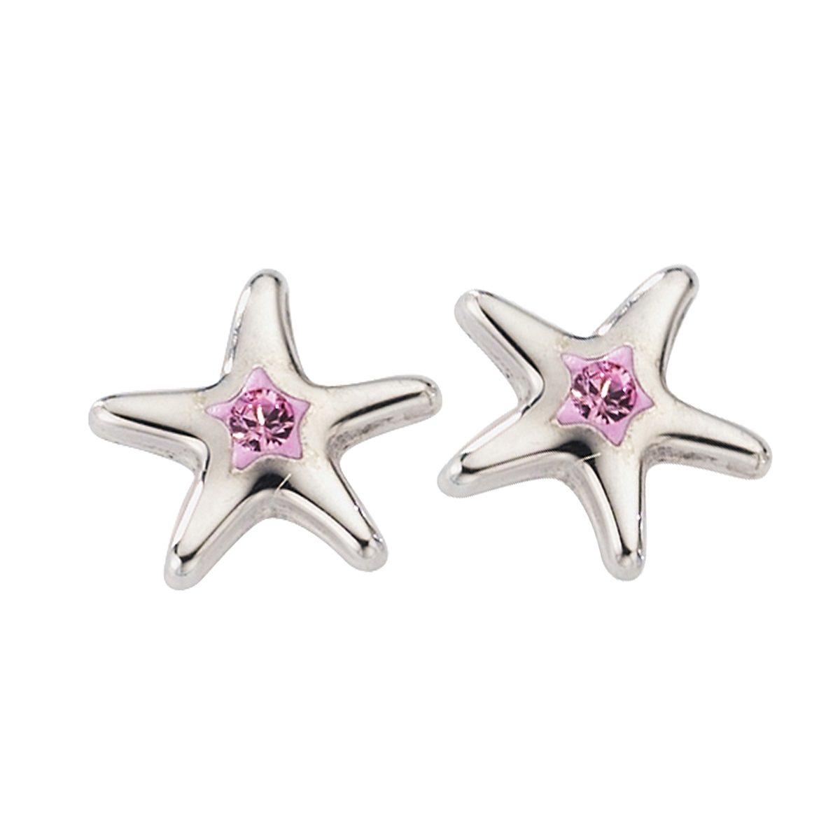 Crystelle Ohrstecker »925/- Sterling Silber Swarovski pink«