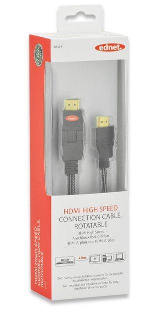 Ednet HDMI »HDMI High Speed Anschlusskabel drehbar 2.0m«