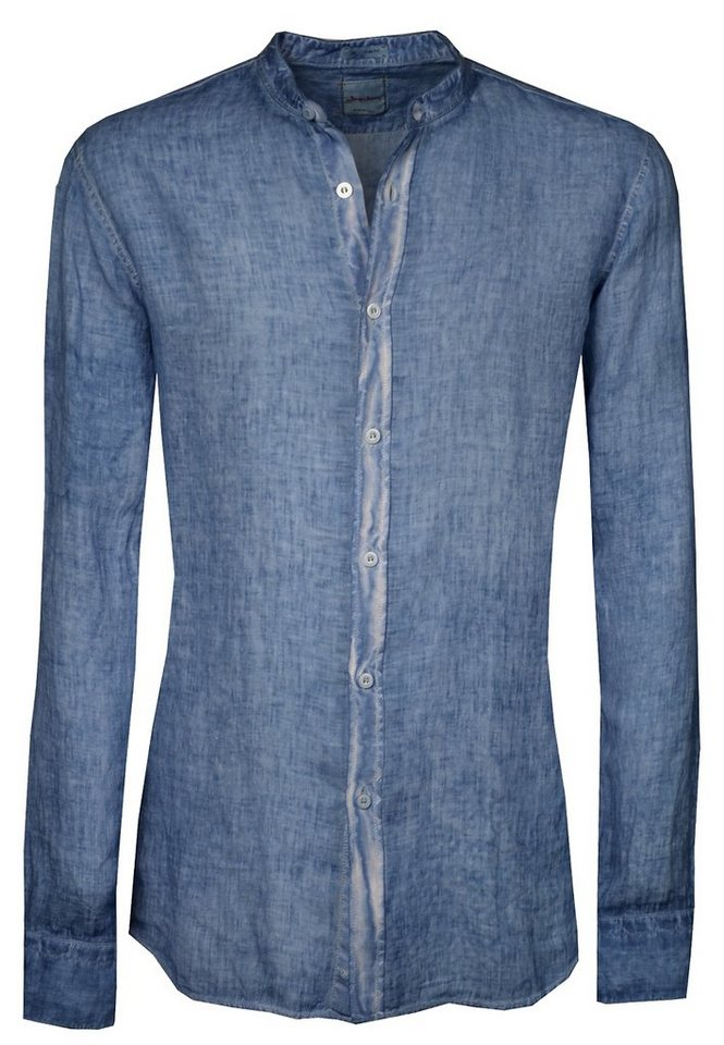 Signum Leinenhemd mit Stehkragen in peacoat blue