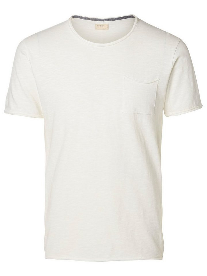 Selected Regular-Fit- T-Shirt in Egret