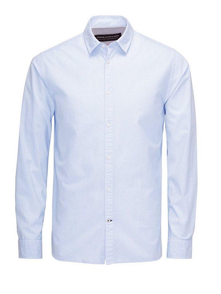 Jack & Jones Smartes Freizeit-Popeline- Businesshemd in Cashmere Blue