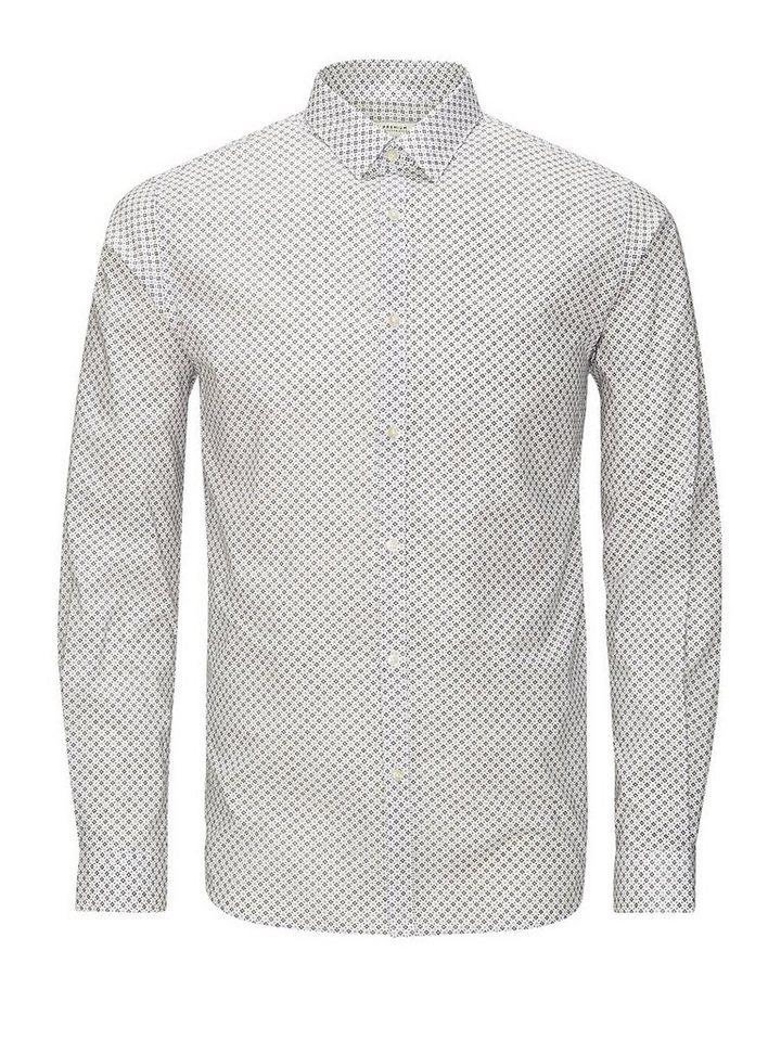 Jack & Jones Microprint- Langarmhemd in White