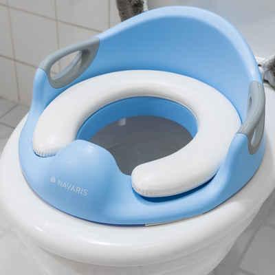 Navaris Baby-Toilettensitz, Kinder WC Aufsatz - 12 Monate bis 7 Jahre - Baby Sitz Anti-Rutsch Polster Kloaufsatz - Griff und Spritzschutz - Toilettentrainer