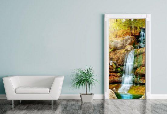 Bilderdepot24 Türtapete, Türaufkleber Wasserfall im Regenwald, selbstklebendes Vinyl