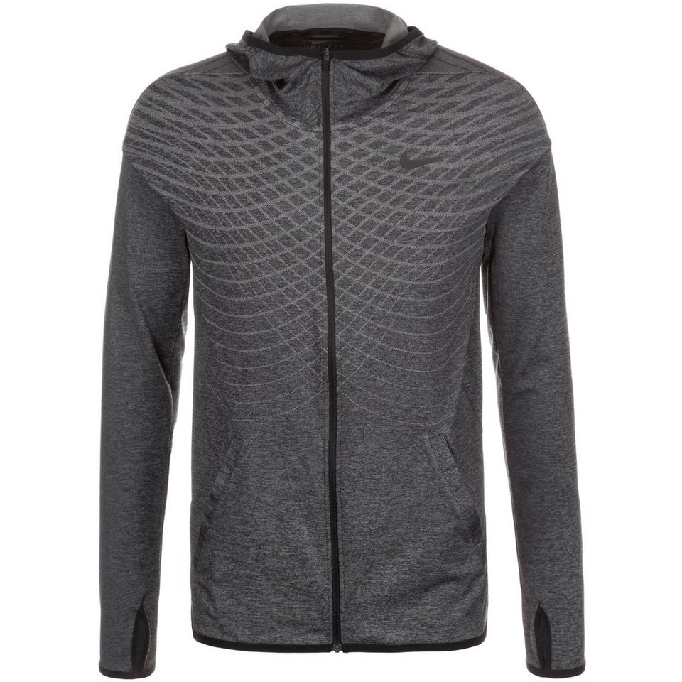 NIKE Ultimate Dry Full-Zip Trainingskapuzenjacke Herren in schwarz / grau