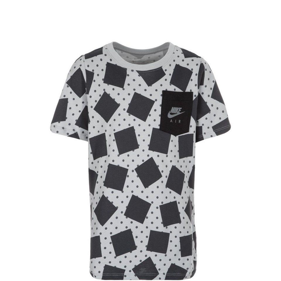 NIKE Allover Print Trainingsshirt Kinder in dunkelgrau / weiß