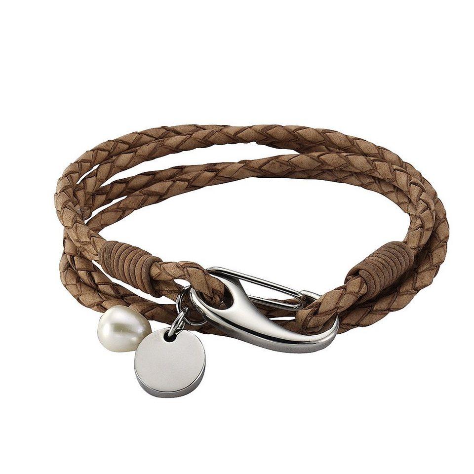 Zeeme Armband »Lederband mit Edelstahlverschluß« in braun
