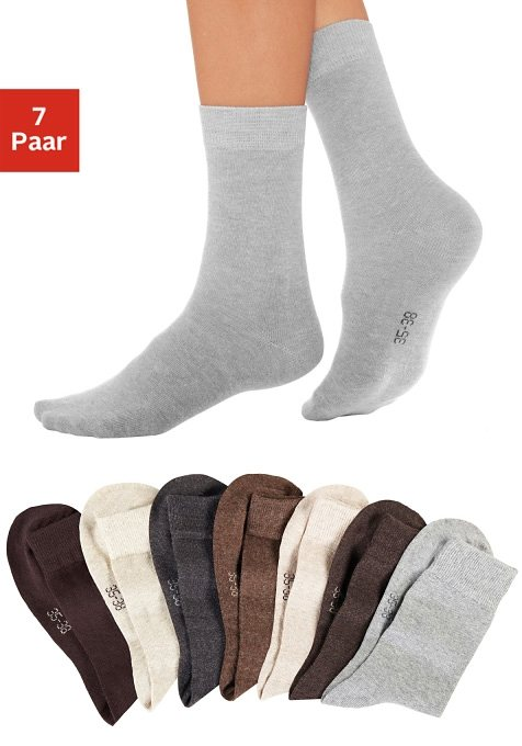 lavana basic socken 7 paar mit druckfreiem b ndchen online kaufen otto. Black Bedroom Furniture Sets. Home Design Ideas