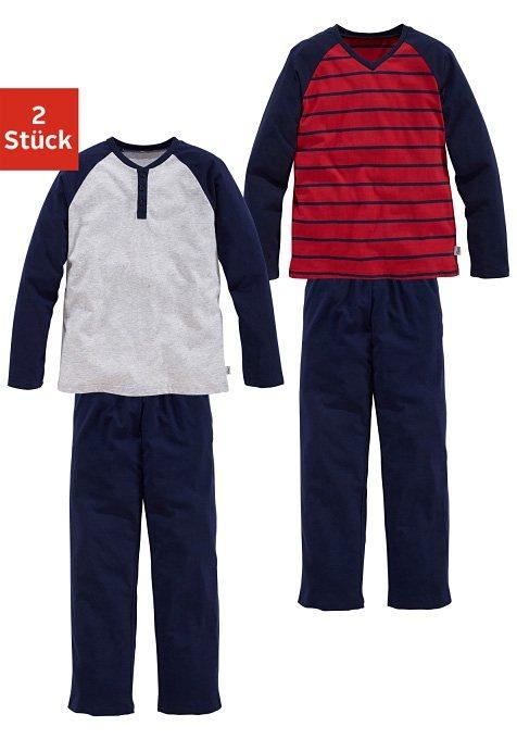 Le Jogger lange Baumwoll- Pyjama (2 Stück) mit Raglanärmeln in grau meliert + marine