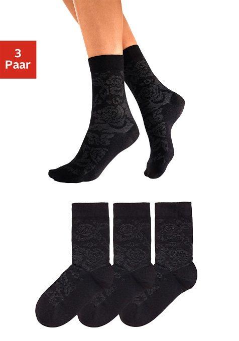 Tom Tailor Socken (3 Paar) mit Rosenmuster in 3x schwarz